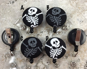 Retractable Badge Holder - Fabric Covered Button - Skeletons