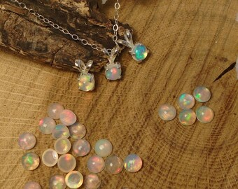 Ethiopian Fire Opal Necklace, Sterling Silver, .35 to 45 Cts 5.00 mm to 5.10 mm Round Rainbow Play Natural Ethiopian Fire Opal, Stud