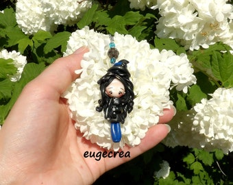 Necklace little witch and her black cat in fimo and stainless steel