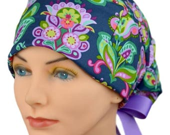 Scrub Hats // Scrub Caps // Scrub Hats for Women // The Hat Cottage // LARGE // Ribbon Ties // Folk Bloom