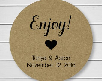 Enjoy Kraft Stickers, Wedding Stickers, Personalized Wedding Stickers, Enjoy Labels in Your Wedding Colors (#028-KR)