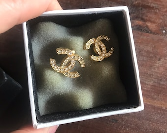 Authentic Chanel crystal earrings