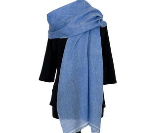 MERINO WOOL with CASHMERE Scarf  - Cornflower Blue and White