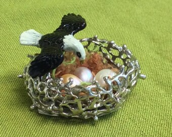 Sterling Silver and Pearl Birds Nest