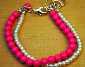 Handmade Pink Swarovski Crystal and Pearl Bracelet