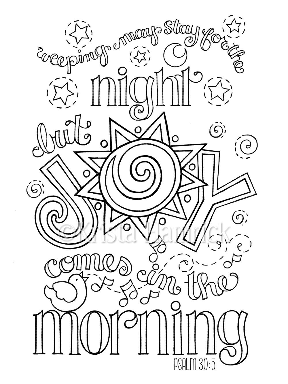 Joy Coloring Page Joy Comes In The Morning Coloring Page In Two Sizes 8.5X11