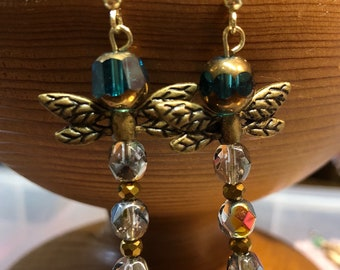 Dragonfly eartibgs with gold and teal glass beads