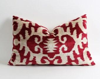 ikat velvet pillow cover, red ikat pillow, silk velvet ikat pillow, modern boho decorative pillow