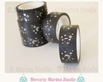 Genuine masking tape black with Moon and stars 10 M rice paper