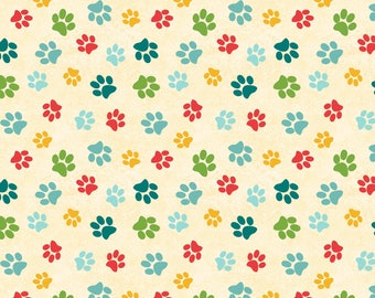 Wisdom of Dogs Multi color dog paws 100% Cotton Fabric 14614-243 BTY