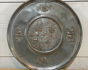 SALE - Embossed Sheffield Silver on Copper Cake Dish - Serving Tray - Holland Ware
