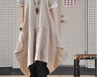 Women's retro plus size dress pullover pleated long linen dress loose fitting maxi dress(80374)