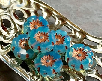 TROPICAL BLOOMS - Transparent blue with Copper Finish - Flower Shaped Czech Glass Beads - 6 Beads