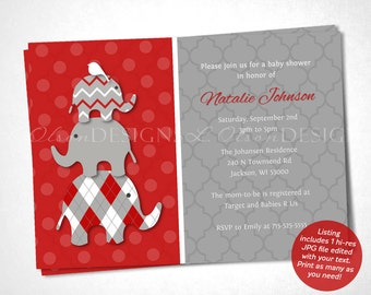 Stacked Elephant Baby Shower Invitation - Red - DIY Printable
