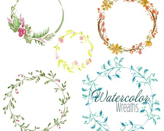 Watercolor Wreaths - 5 Images - Instant Digital Download