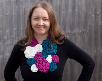 Fashion bib scarf flower quick and easy sewing pattern