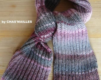 scarf unisex gray and pink tones