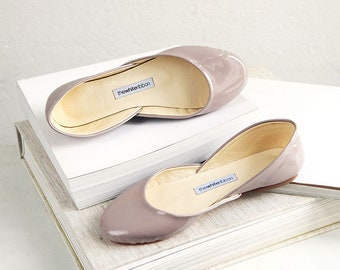 Patent Leather Ballet Flats | Ballerina Style Shoes  | Classic Cut | Standard Width | Hazelnut | Ready to ship