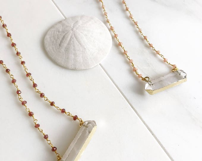 Beaded Crystal Bar Necklace in Garnet Red or Moonstone. Bar Necklace. Gold Necklace. Crystal Necklace. Gift.