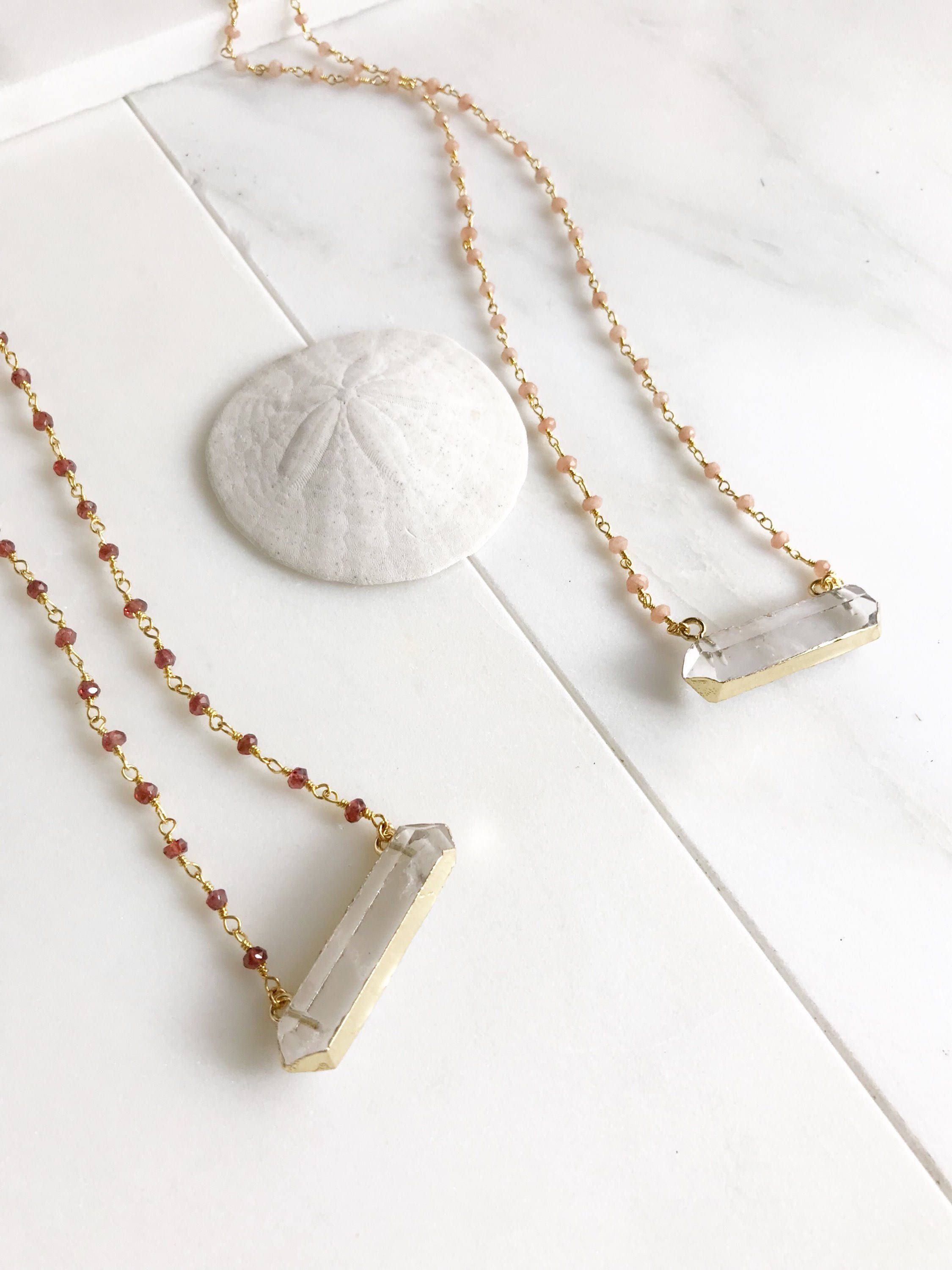 garnet stone pin jewellery precious gemstone beaded red silver grey necklace moonstone semi natural