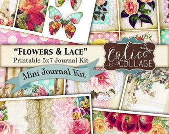 Flowers and Lace, Junk Journal Kit, Printable, Journal Pages, Digital, Collage Sheet, Mini Kit, Vintage Ephemera, Digital Images,