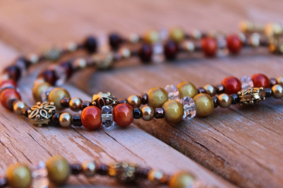 Rustic Necklace,  Long Beaded Autumn Leaves Necklace, Fall Colors Beaded Necklace. Brown Red Gold Autumn Jewelry