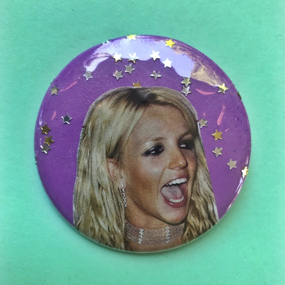 """2.25"""" Collaged Pinback Button - Britney Spears Glitter Pop Music ICON Button Large Badge - Handmade One Of A Kind RARE Britney Statement Pin"""