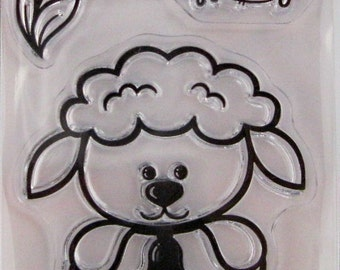 """Hot Off The Press """"Lamb"""" Silicone-Based Clear Stamps, 3 Clear Acrylic Silicone Scrapbooking Stamps 3.5""""x2.25"""""""