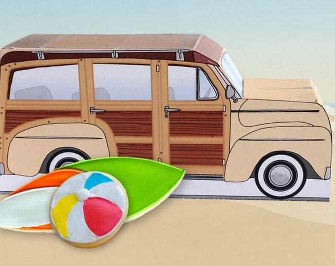 Cream Retro Woodie Surfer Wagon Box - great as cupcake box, gift box or favor box - INSTANT Download DIY Printable PDF Kit