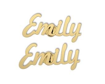 Name Earring -10K Gold  Personalized Earrings - Gold Name Earring- Name Stud Earrings - Bridesmaids Gift- custom name earrings