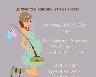 Twins Fishing Baby Shower Invitation - Twin Boys and Twin Girls Shower Invitations - Twins Baby Shower Invitation 1103