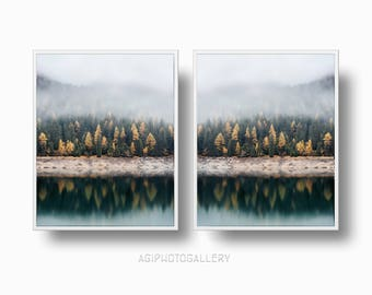 Foggy Forest Mountain, Misty Mountain Lake printable Download, Nordic Foggy Forest Lake Print Set, Woodland Forest Wall Art,