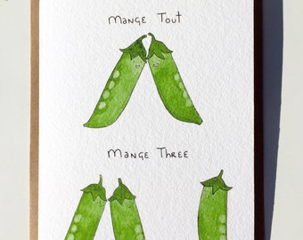 Threes-A-Crowd Mange Tout Vegetable Pun Greeting Card