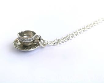 Dainty Tea Cup Necklace - Silver Plated Adjustable Coffee Cup and Saucer Jewellery, Vintage Style Teacup Charm Jewelry