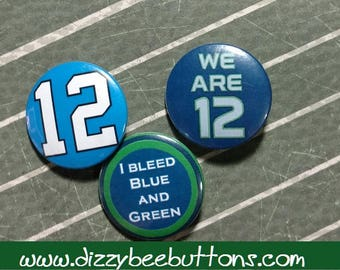 "Set of 3 Seattle Seahawks - 1.25"" or 1.5"" - pinback buttons - magnets - keychains"