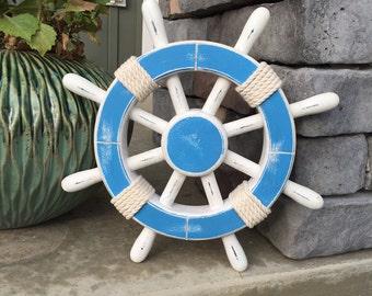 Rustic Light Blue and White Nautical Ship Wheel - Decorative ship's wheel - Wood ship wheel - Vintage ship wheel - nautical decor - 084