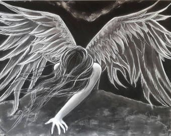Resurrection painting black and white Angel
