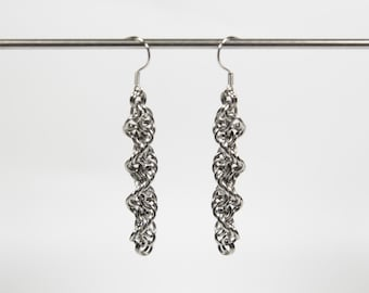 Inverted Spiral Earrings, Chainmaille Earrings, Stainless Steel, Chainmail Earrings, Maille Earrings, Drop Earrings, Dangle Earrings