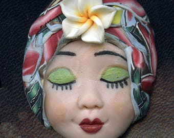 Polymer Clay One of a Kind     Detailed  Art Doll Face with abstract hatand porcelain flower.   FAB 6