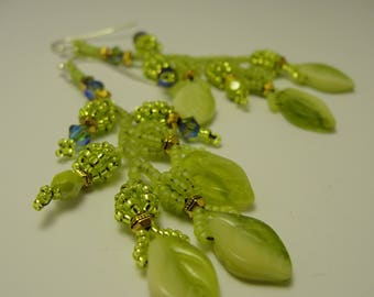 Bead Woven Green Leaf Beads