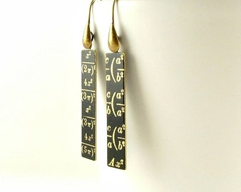 Geeky Maths Gift - Math Equation Earrings - Arithmetic Drop Earrings - Math Teacher Gift - Graduation Gift - Tech Gift For Girlfriend