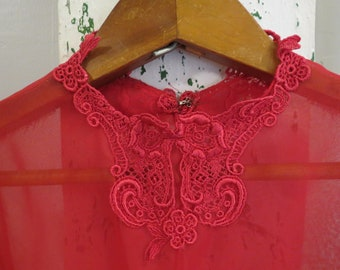 Vintage sheer red blouse with lace detail