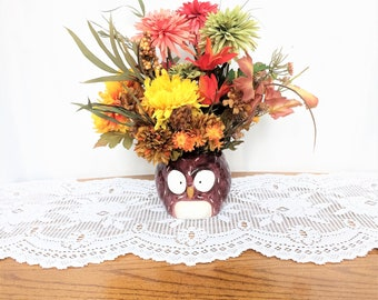 Yellow Mum Flower Arrangement, Silk Floral Centerpiece, Fall Table Centerpiece, Yellow Floral Arrangement, Fall Home Decor, Owl Mug