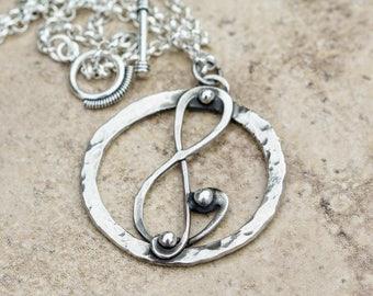 Music Pendant G Clef Pendant Sterling Silver Handmade