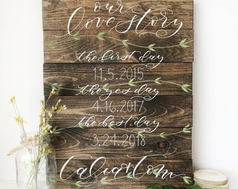 Our Love Story Wedding Sign . hand lettered . pallet sign . wedding date . rustic wedding . personalized wedding gift . leaves