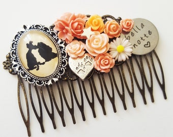 Lady and the Tramp Bella Notte Disney Silhouette Fairytale Cameo Handmade Bridal Hair Comb Wedding Hair Disney Wedding Gift for Her