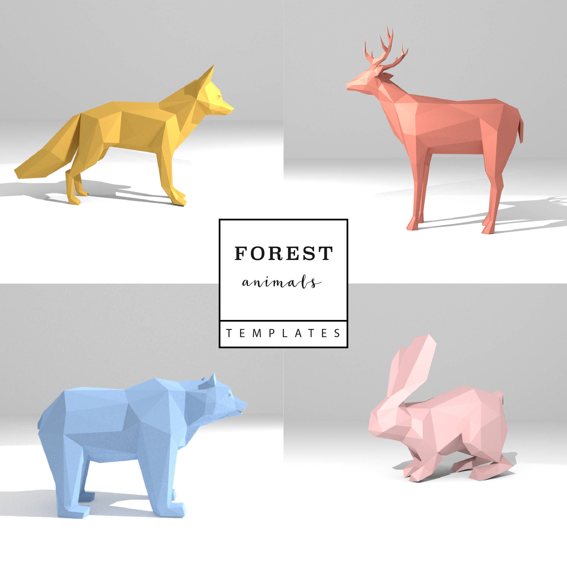Set of 4 Printable DIY templates (PDF). Forest Animals low poly ...