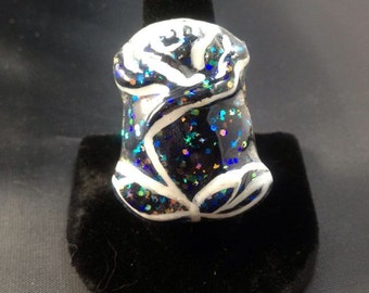 Hand-Painted Black Rose Ring
