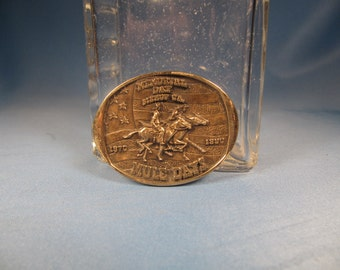 BOLO TIE SLIDE,  Bishop California Memorial Day 1990 Commemorative Solid Brass Bolo Tie Slide, 1970 to 1990 Mule Days Commemeorative Slide