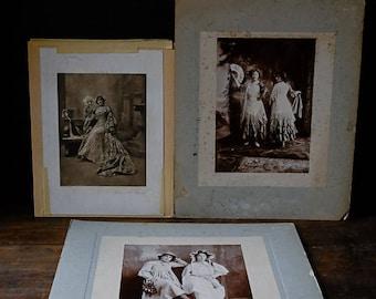 Collection of three mounted VICTORIAN ANTIQUE PHOTOGRAPHS Victoriana Female Women Portraits Ephemera Black & White Sepia Beatrice Much Ado